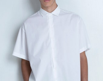 Men's White OverSized Shirt With Short Sleeve and Dropped Shoulder