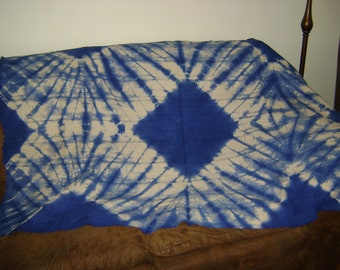 African Mudcloth Blue Tie-Dyed Throw  Textile