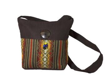 Brown boho bag, Small boho bag, Brown Ethnic Bag, Brown and yellow boho Bag, Brown boho cross body bag, Boho bag with tagua