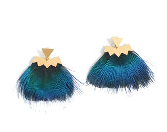 Earrings Peacock feather, blue ear back, bo ethnic, Bohemian loops