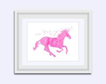 unicorn Room Decor - Unicorn printable - Magical unicorn - pink unicorn print - Watercolor print - Nursery decor - girls room art - kids art