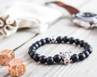 8mm - Matte black onyx beaded silver Leopard head stretchy bracelet, made to order gemstone bracelet, mens bracelet, womens bracelet