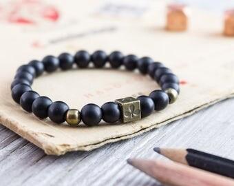 8mm - Matte black onyx beaded stretchy bracelet with bronze Poker pattern bead, mens bracelet, womens bracelet, black bead bracelet