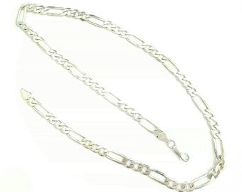 Vintage Italian Sterling Silver Figaro Chain Necklace- 20 Inch