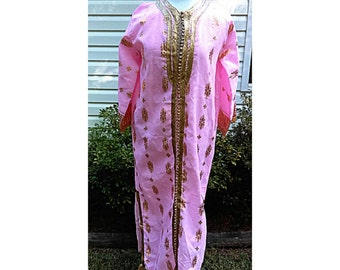 90's Vintage Pink Tunic with Gold embroidered Etnic Tunic kurta