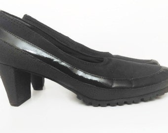 Vintage Black Shoes Pumps Patent and Synthetic Shoes 90's By Soft Walk Size 8 1/2 M