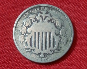 1867 Shield Nickel Type 1 Rays Antique Five Cent Coin