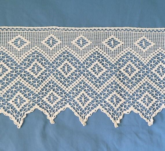 Cotton crocheted lace trim antique lace edging vintage - Crochet mural vintage ...