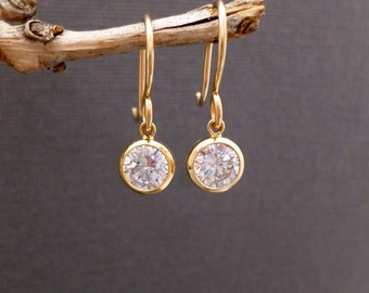 """Gold Filled Cz Earrings. Free Shipping. Tiny Gold Earrings. Cubic Zirconia Dangles. 14K Gold Filled. Clear Crystal. 1/4"""" Round 6 mm"""