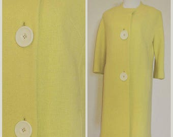 Clearance *** Amazing Vintage Yellow Coat with Large Buttons