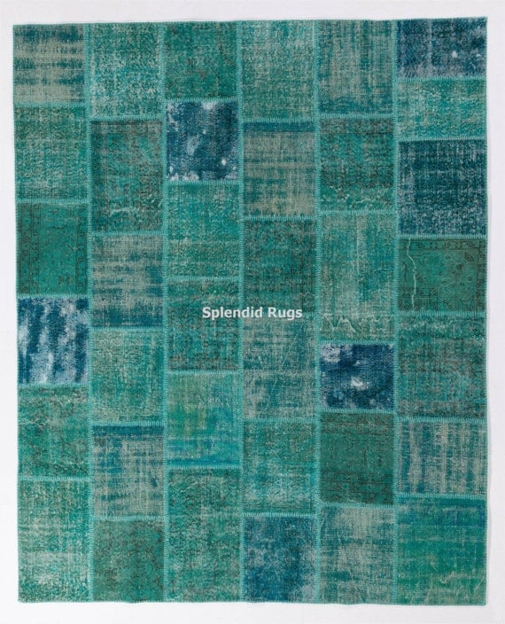 Turquoise Teal Aqua Blue Color Patchwork Rug Handmade From