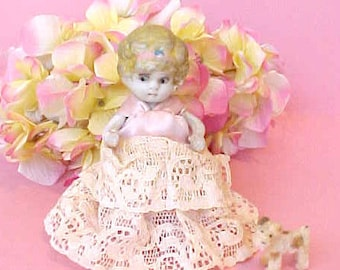 Darling Little Art Deco All Bisque Doll in Lacy Gown