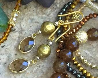 Gold Dangle Earrings, topaz earrings, gold and silver earrings, Smoke Topaz Crystal in  Bezel, Faceted crystal, boho