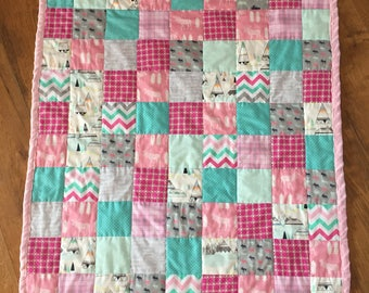 Baby Girl Woodland Moose Baby Quilt
