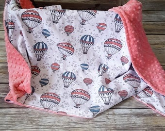 Minky Baby Blanket- Hot Air Balloon Blanket- Baby Girl Blanket- Baby Girl Nursery- Crib Blanket