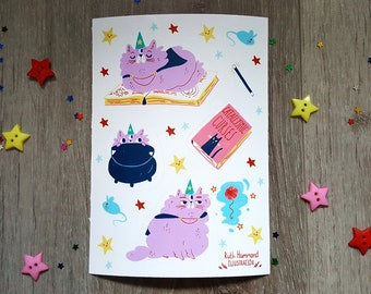 Wizard Cat Sticker Sheets - Cute - Magic - Stars - Illustration - Kawaii - Stickers - Book - Yarn