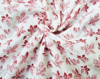 Vintage Synthetic Dress Fabric - 1970's - Damson colour leaves on a white background - 1 piece - Unused