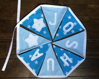 Personalised Baby Boys Bunting, Blue Stars & Stripes. New Baby, Christening, Nursery, Baby Shower, Birthday Gift.
