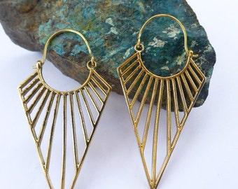 Triangular ,ethnic brass earrings UK seller