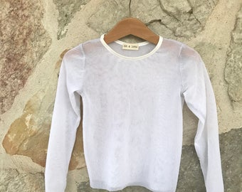 Solid white sheer stretchy mesh long sleeved fitted shirt girls baby toddler