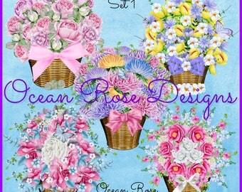 Watercolor Flower Basket, Digital Clipart Flowers, Mother's Day Bouquet, Wedding, Garden, Digital Graphics Clip Art PNG, Scrapbooking set