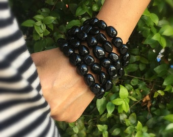 Black Obsidian Nugget Bracelets Set of Two