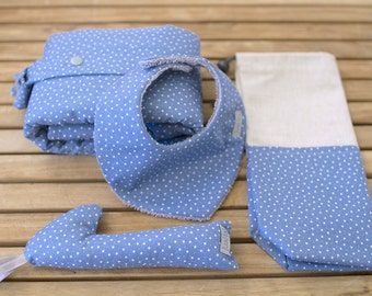 Kit gift of birth | Exchanger, bag multi-purpose, bib bandana and rattle | Blue Sky & star