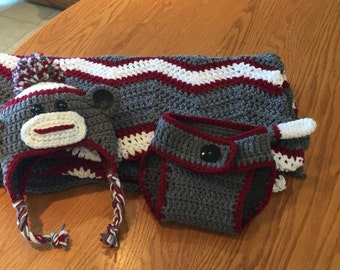 SOCK MONKEY Blanket, Hat and Diaper Cover
