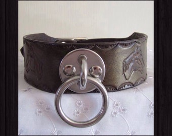 BDSM Leather Collar,Horse/Pony Design,Heavy Duty O Ring,Cast Steel Buckle,submissive,Pony Play