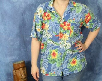 Vintage 80s 90s Barefoot in Paradise Hawaiian Shirt // Blue Red Tropical Button Shirt // Large // Beach Lounge