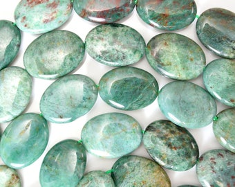 "22mm green dragon blood jasper flat oval beads 16"" strand 38148"