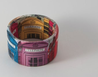 Handmade decoupage bracelet, wooden jewelry, handmade, accessories, gift for her, fashion gifts, women jewelry, london, phone booth, bangle