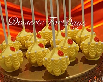1dz. Belle Themed Cake Pops. Made with High Quality Ingredients! Dessert Table. Party Favors.