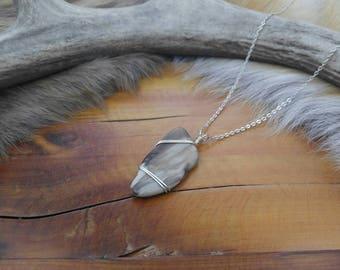 Petrified Wood Pendant, Fossil Jewelry, Fossilized Wood, Wire Wrapped Jewelry, Boho Jewelry, Gypsy Jewelry, Statement Necklace