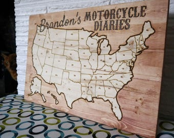 Large Colorable Customized USA Map - Woodburned - Track your travel! home decor | wood map sign | wood US map | travel map | custom travel