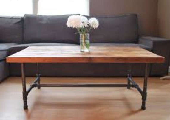wood and pipe coffee table