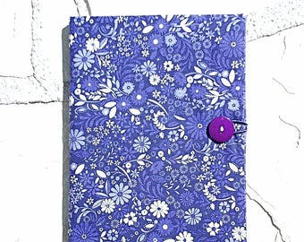 Purple Floral Fabric Book Cover , Fabric Journal Sleeve, Button Closure Book Cover