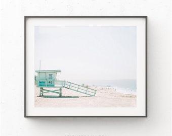 Lifeguard Tower Tropical Beach Print, Coastal Print, Tropical Beach, South Beach Miami, Coastal Lifeguard