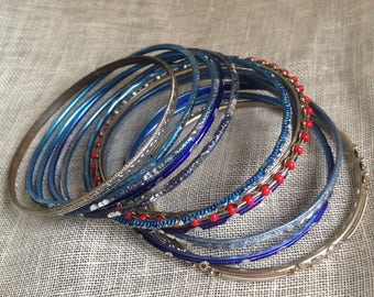 Set of 12 Blue, Silver and a Pop of Red Thin Metal Bangles Boho Gypsy Jingle Fun Quirky