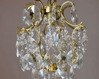 Ornate Brass Vintage Crystal Chandeliers- Fully Rewired Antique Lamp- French Vintage  Crystal Chandelier- Superb Ceiling Fittings & Fixture