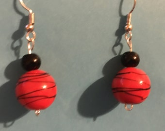 Red and black glass bead earrings  C43