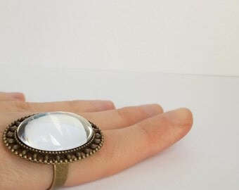 Glass ring / Oval glass ring / Clear Glass cabochon ring / Vintage style ring
