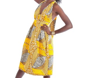 Ankara halter  dress , African print halter dress, Printed halter dress, yellow dress, midi dress, sundress, ankara sundress, African dress