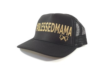 Le Bow Couture #BLESSEDMAMA Trucker Hat-Gold/Black (Adult)