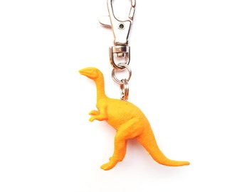 Orange dinosaur keyring ~ neon orange raptor jurassic park  key chain