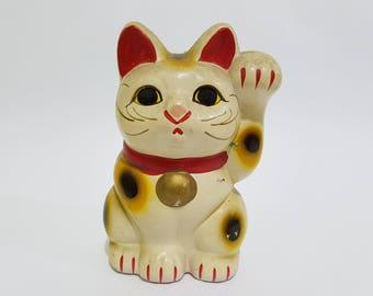 Vintage Ceramic Lucky Fortune Cat Figurine, Japanese Manekineko Beckoning Cat, Japanese Engimono, CecysAsianShop