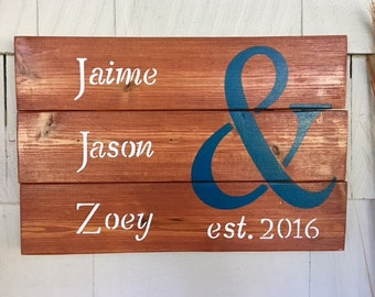 Wood Sign With Customized Name & Date