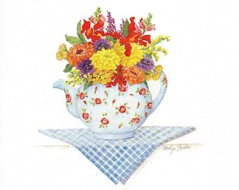 Mixed Bouquet in a Teapot