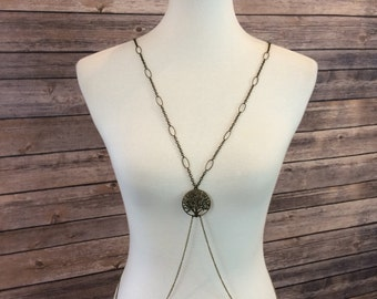 Single Strand Antique Gold Body Chain with Tree of Life Pendant