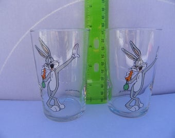 1989 Looney Tunes Glass Bugs Bunny Tumblers - Set of 2 , Warner Bros Cartoon Glasses , Bugs Bunny , Juice Glass , Glassware , Kitchen